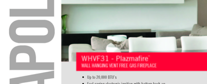WHD31 - Plazmafire™ wall hanging direct vent gas fireplace