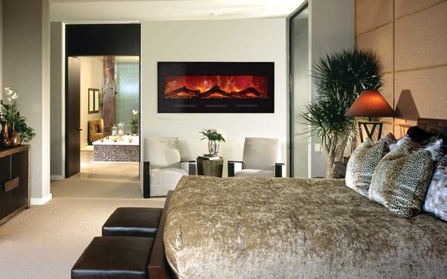 Electric fireplaces harding the fireplace for Electric wall fireplace bedroom